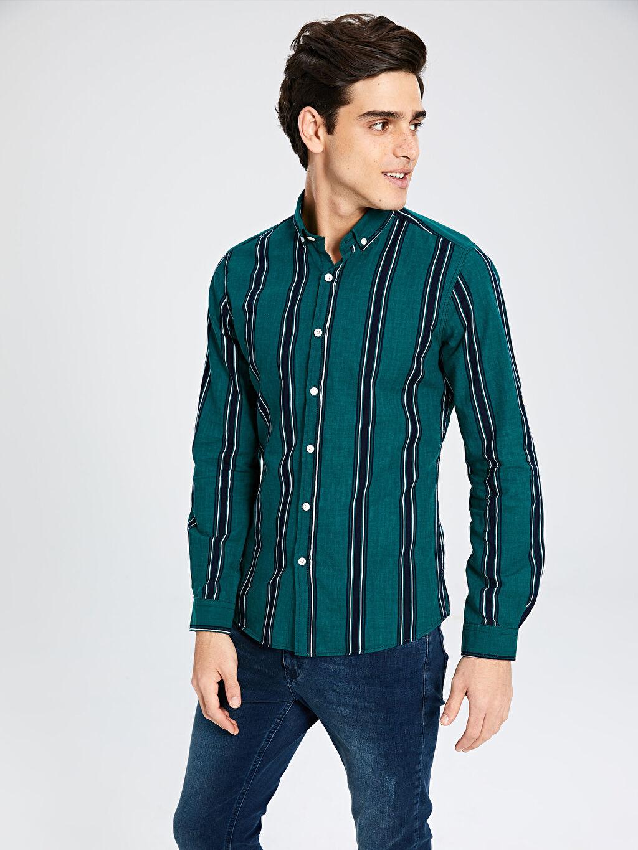 Yeşil Ekstra Slim Fit Çzgili Uzun Kollu Oxford Gömlek 0S0783Z8 LC Waikiki