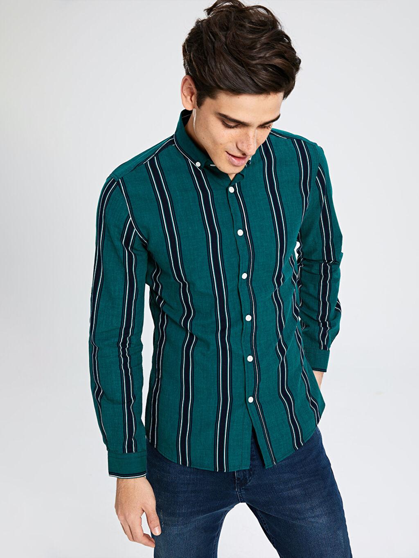 Erkek Ekstra Slim Fit Çzgili Uzun Kollu Oxford Gömlek