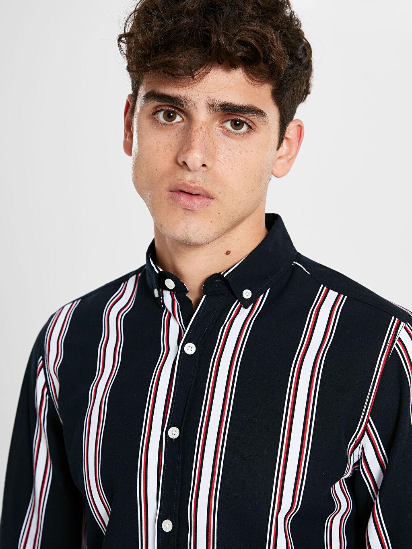 %100 Pamuk Gömlek Gömlek Oxford Uzun Kol Ekstra Dar Düğmeli Gömlek Yaka Çizgili %100 Pamuk Orta Kalınlık Ekstra Slim Fit Çzgili Uzun Kollu Oxford Gömlek