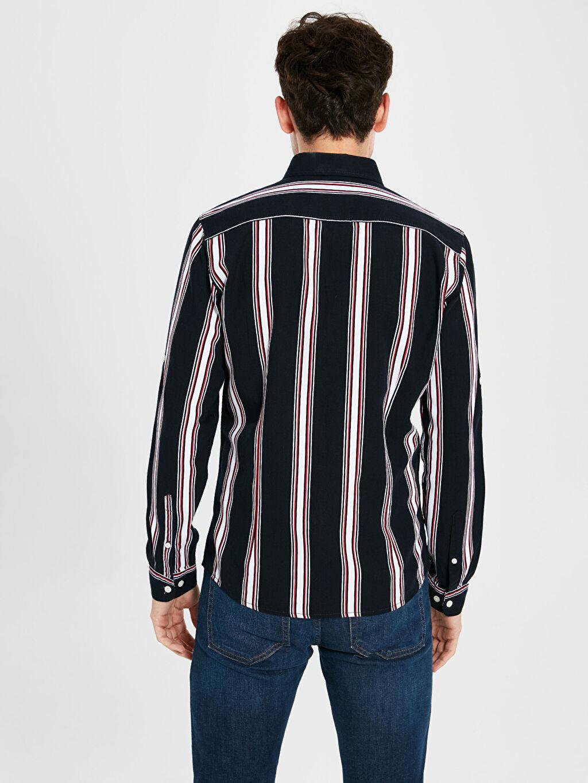 %100 Pamuk Ekstra Slim Fit Çzgili Uzun Kollu Oxford Gömlek