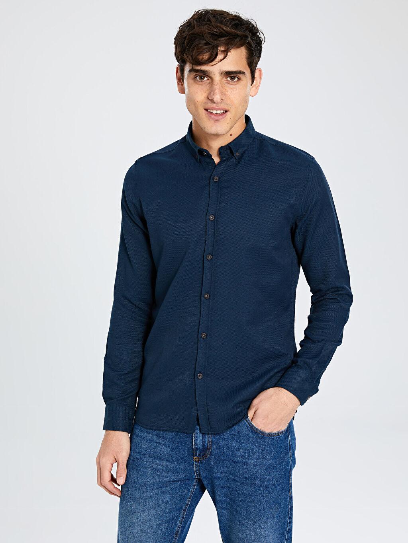 %60 Pamuk %40 Polyester Gömlek Gömlek Uzun Kol Düz Ekstra Dar Düğmeli Gömlek Yaka Orta Kalınlık Ekstra Slim Fit Armürlü Gömlek