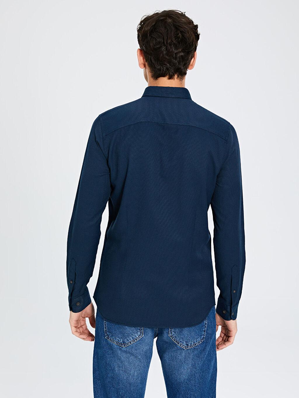 %60 Pamuk %40 Polyester Ekstra Slim Fit Armürlü Gömlek