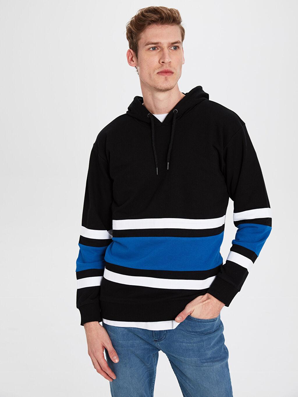Siyah Kapüşonlu Baskılı Kalın Sweatshirt 0S1175Z8 LC Waikiki