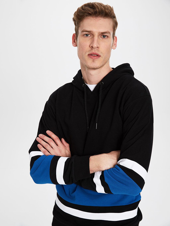%70 Pamuk %30 Polyester Üç İplik İçi Tüylü Kapüşon Yaka Sweatshirt Kalın Uzun Kol Kapüşonlu Baskılı Kalın Sweatshirt