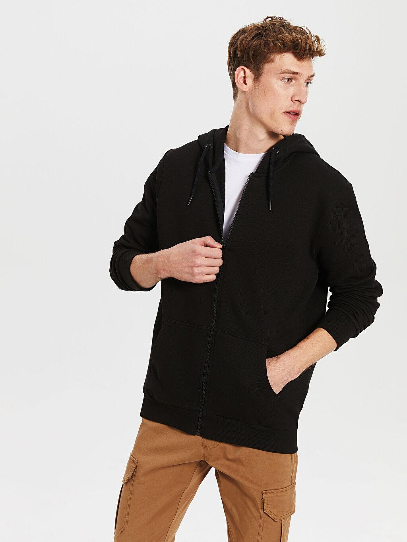 %94 Pamuk %6 Polyester Standart Pike Düz Standart Kapüşon Yaka Sweatshirt Kalın Uzun Kol Kapüşonlu Basic Hırka