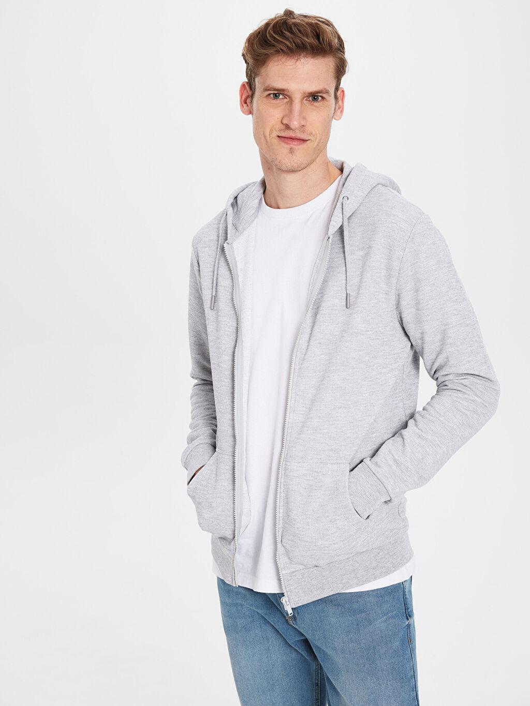 %47 Pamuk %53 Polyester Standart Pike Düz Standart Kapüşon Yaka Sweatshirt Kalın Uzun Kol Kapüşonlu Basic Hırka