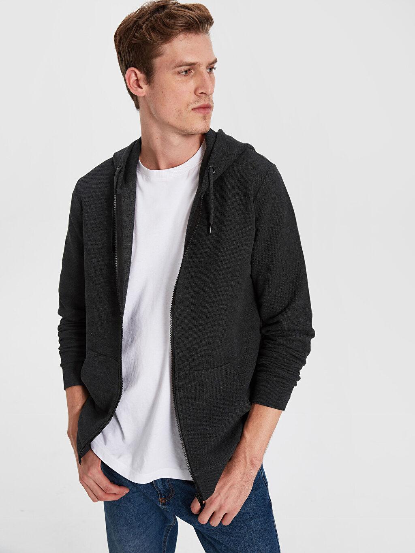 %53 Pamuk %47 Polyester Standart Pike Düz Standart Kapüşon Yaka Sweatshirt Kalın Uzun Kol Kapüşonlu Basic Hırka