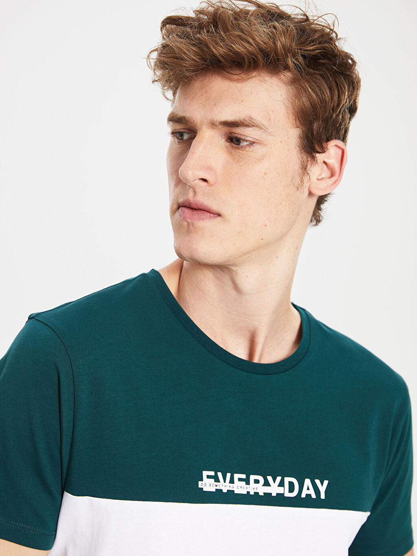 Erkek Bisiklet Yaka Çizgili Tişört