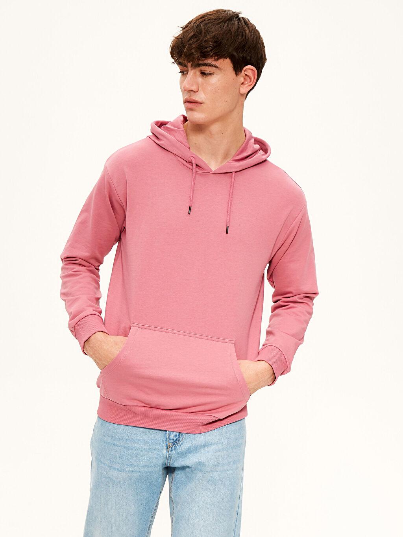 Pembe Kapüşonlu Basic Kalın Sweatshirt 0S1315Z8 LC Waikiki