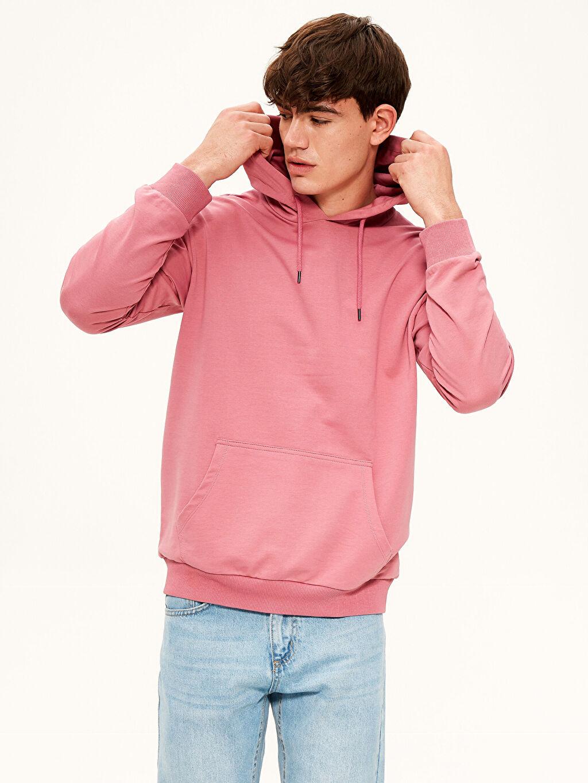 %82 Pamuk %18 Polyester Orta Kalınlık Uzun Kol Kapüşon Yaka Üç İplik Sweatshirt Kapüşonlu Basic Kalın Sweatshirt