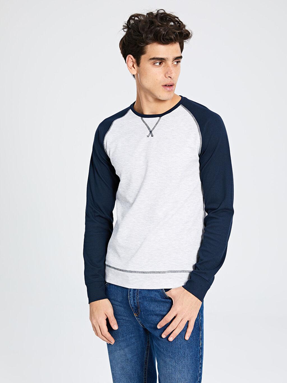 %49 Pamuk %50 Polyester %1 Elastan Yüksek Pamuk İçerir Sweatshirt Bisiklet Yaka Orta Kalınlık Uzun Kol Bisiklet Yaka Basic Sweatshirt