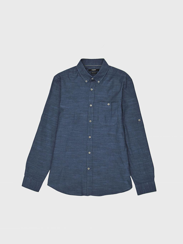%100 Pamuk İnce Gömlek Standart Uzun Kol Düz Düğmeli Gömlek Yaka Poplin %100 Pamuk Regular Fit Kırçıllı Gömlek