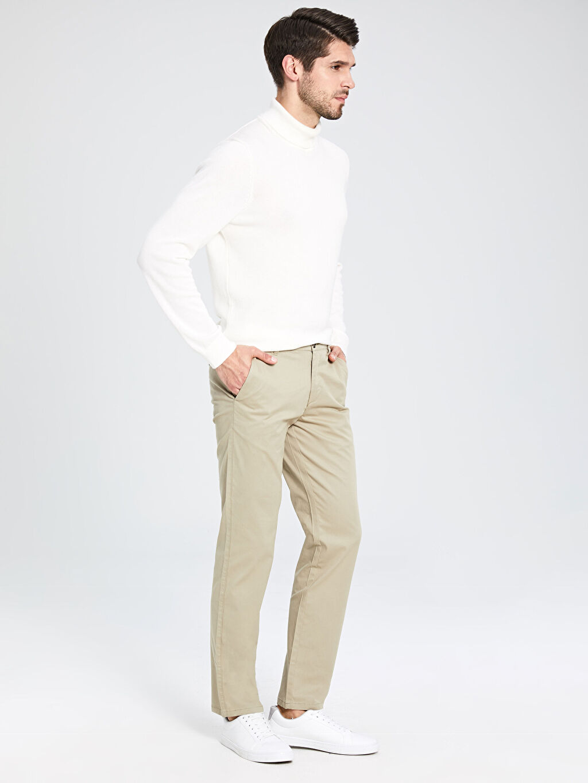%97 Pamuk %3 Elastan Chino Pantolon Düz Gabardin Normal Kalıp Gabardin Chino Pantolon