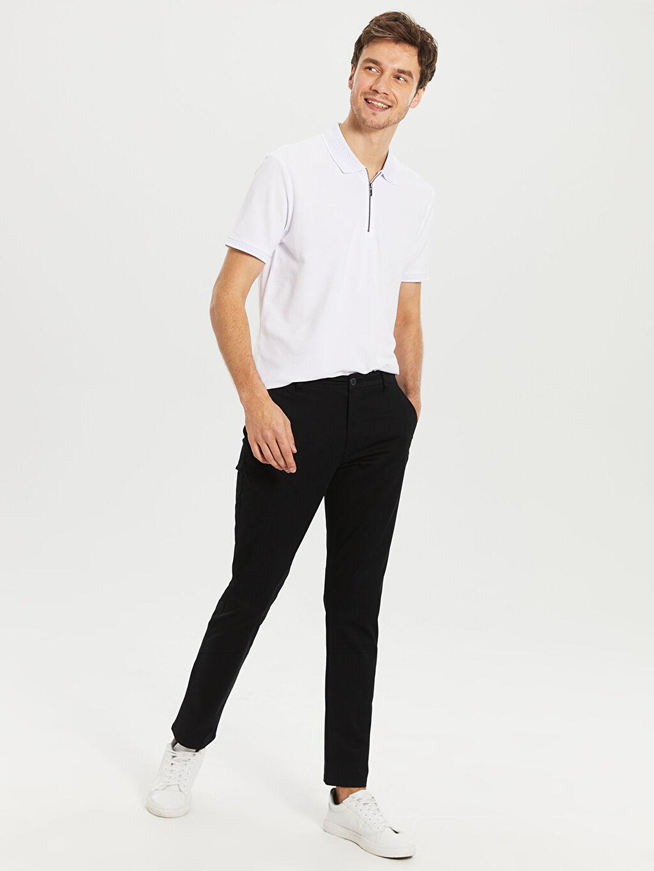 Siyah Slim Fit Gabardin Chino Pantolon 0S1740Z8 LC Waikiki