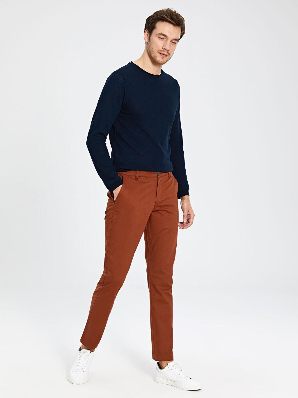 Kahverengi Slim Fit Gabardin Chino Pantolon 0S1740Z8 LC Waikiki