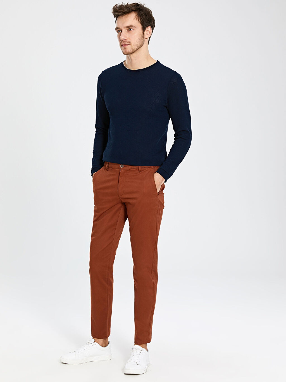 %97 Pamuk %3 Elastan Orta Kalınlık Chino Pantolon Dar Gabardin Düz Slim Fit Gabardin Chino Pantolon