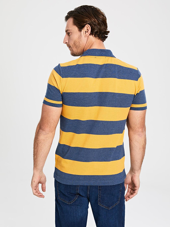 %82 Pamuk %18 Polyester Polo Yaka Kısa Kollu Çizgili Pike Tişört