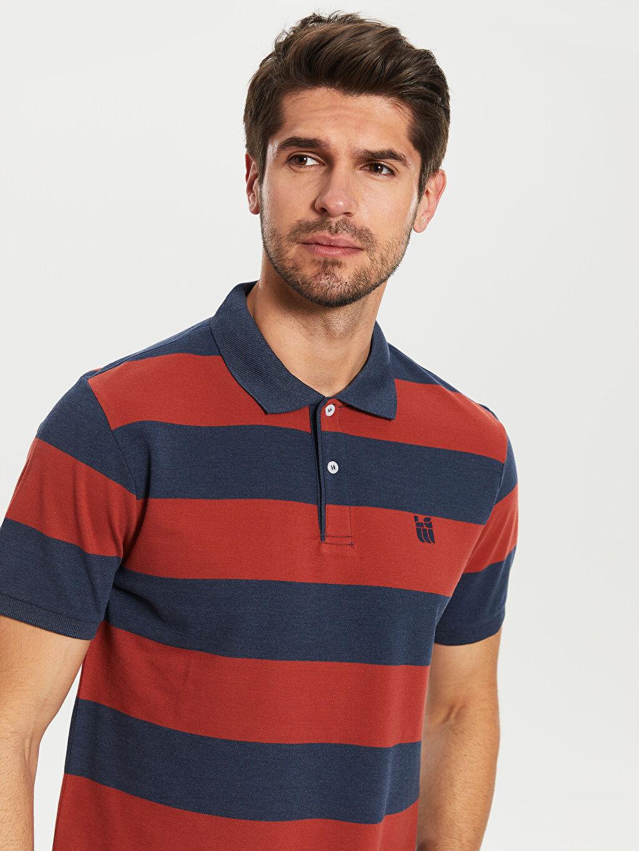 Erkek Polo Yaka Kısa Kollu Çizgili Pike Tişört