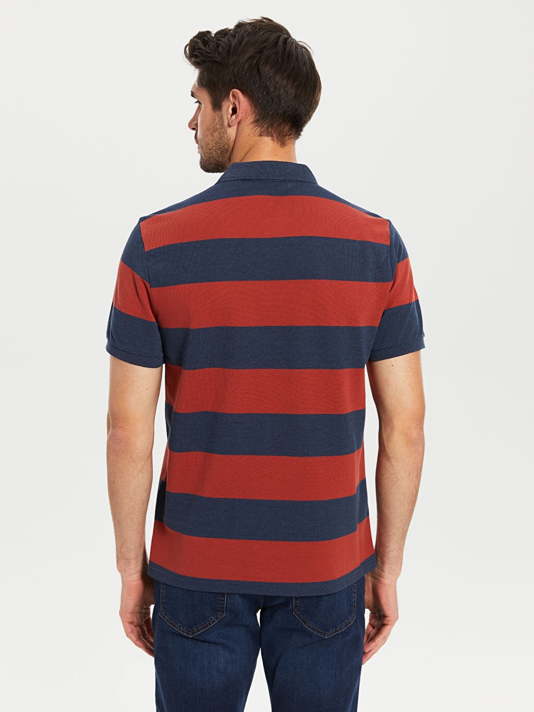 %59 Pamuk %41 Polyester Polo Yaka Kısa Kollu Çizgili Pike Tişört
