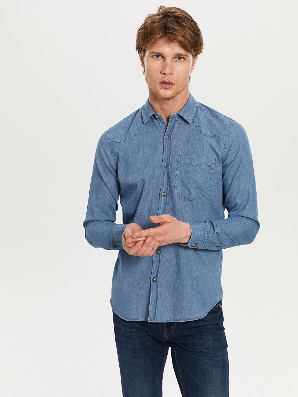Mavi Düz Uzun Kollu Gömlek 0S1771Z8 LC Waikiki