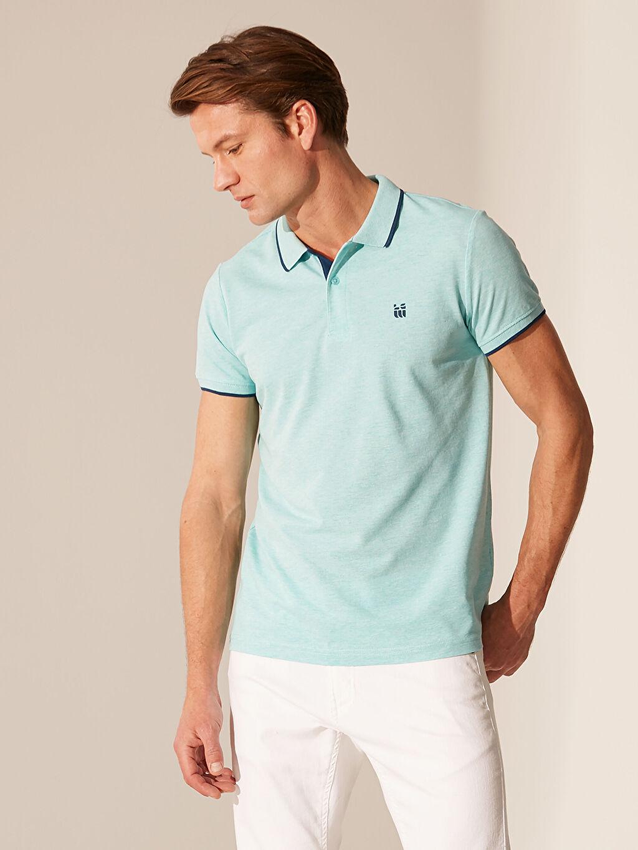 %53 Pamuk %47 Polyester Düz Standart İnce Kısa Kol Tişört Polo Yaka Pike Polo Yaka Basic Kısa Kollu Pike Tişört