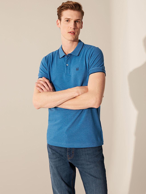 %58 Pamuk %42 Polyester Düz Standart İnce Kısa Kol Tişört Polo Yaka Pike Polo Yaka Basic Kısa Kollu Pike Tişört