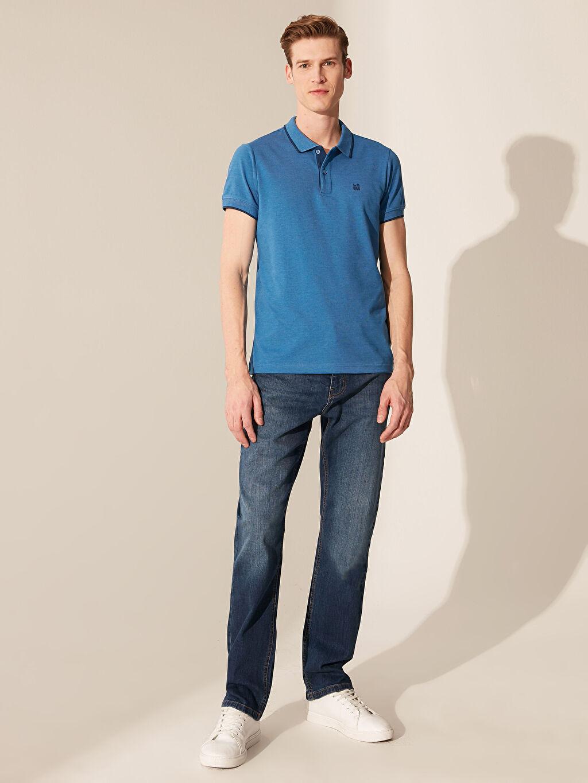 %58 Pamuk %42 Polyester Polo Yaka Basic Kısa Kollu Pike Tişört