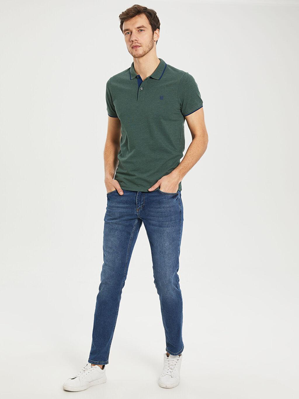 %60 Pamuk %40 Polyester Polo Yaka Basic Kısa Kollu Pike Tişört