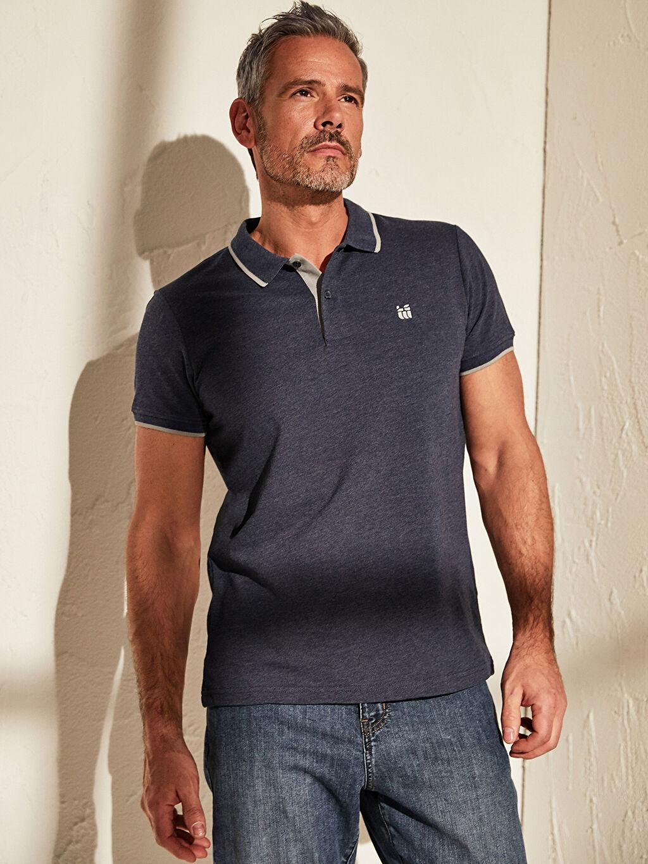 %80 Pamuk %20 Polyester Düz Standart İnce Kısa Kol Tişört Polo Yaka Pike Polo Yaka Basic Kısa Kollu Pike Tişört