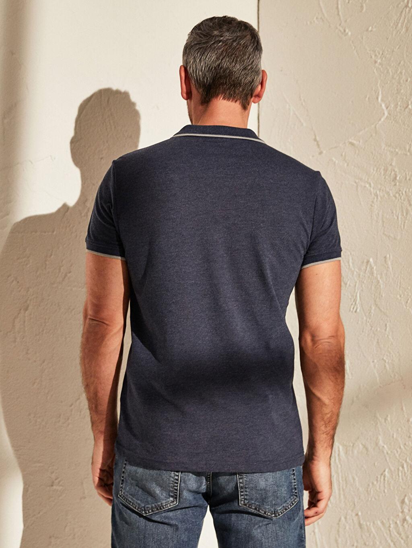 %80 Pamuk %20 Polyester Polo Yaka Basic Kısa Kollu Pike Tişört