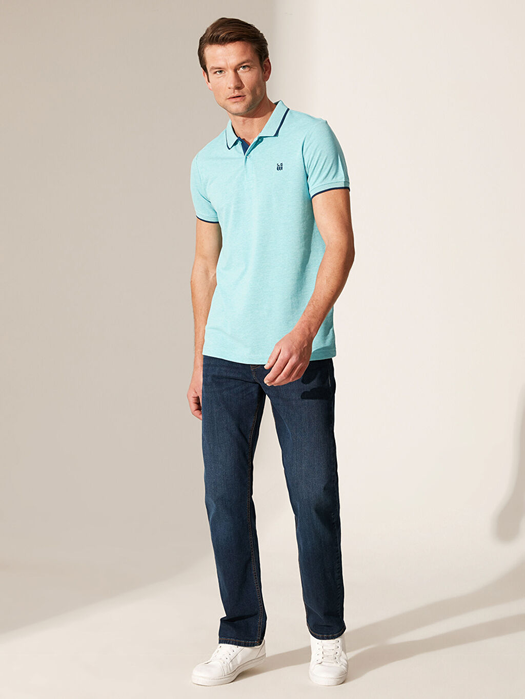%46 Pamuk %54 Polyester Polo Yaka Basic Kısa Kollu Pike Tişört