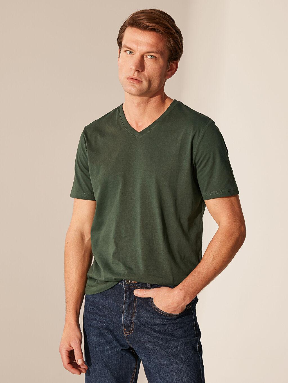 Yeşil V Yaka Basic Tişört 0S1781Z8 LC Waikiki