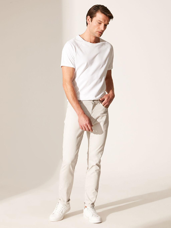 Normal Bel Düz Dar Orta Kalınlık Pantolon Beş Cep Aksesuarsız Yüksek Pamuk İçerir Slim Fit Armürlü Pantolon
