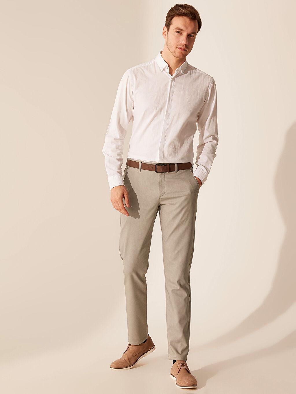%71 Pamuk %26 Polyester %3 Elastan Normal Bel Uzun Dar Pantolon Aksesuarsız Slim Fit Chino Pantolon