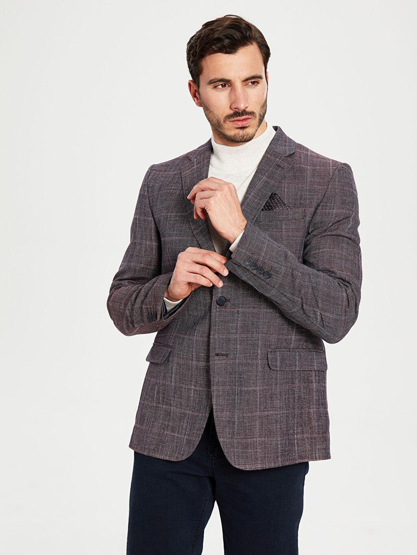 %58 Polyester %42 Viskoz İnce Uzun Kol Standart Ekose Blazer Ceket Astarlı Blazer Ceket