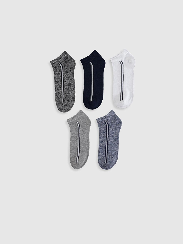 %72 Pamuk %26 Poliamid %2 Elastan Casual Orta Kalınlık Patik Çorap Düz Dikişli Patik Çorap 5'li