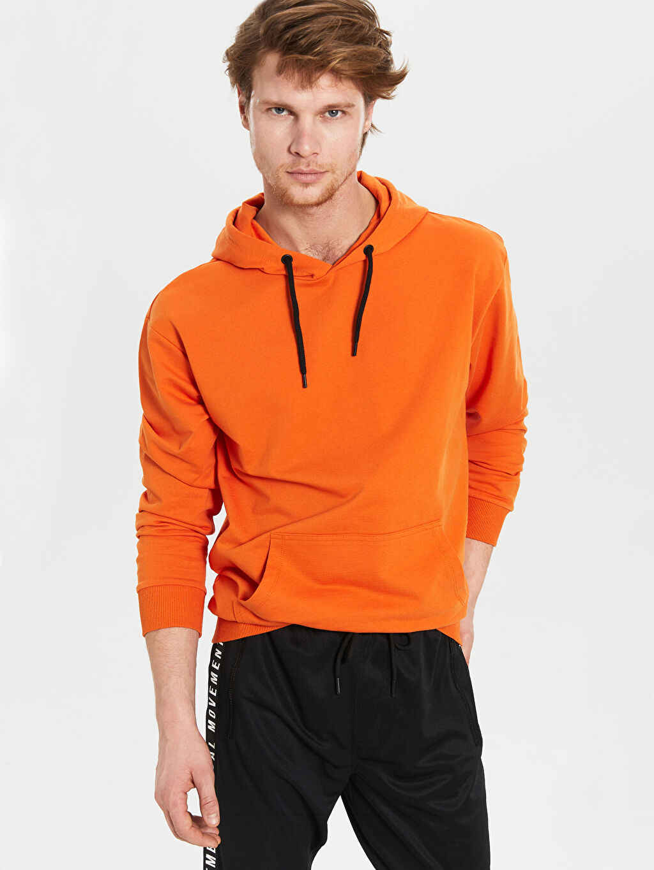 %80 Pamuk %20 Polyester Orta Kalınlık Uzun Kol İki İplik Sweatshirt Kapüşon Yaka Kapüşonlu Basic İnce Sweatshirt