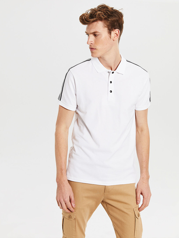 Beyaz Polo Yaka Şeritli Tişört 0S2926Z8 LC Waikiki