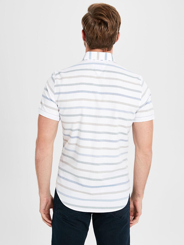 %100 Pamuk Kısa Kol Düğmeli Gömlek Yaka Poplin Çizgili Gömlek Dar Patlı %100 Pamuk Slim Fit Çizgili Kısa Kollu Poplin Gömlek