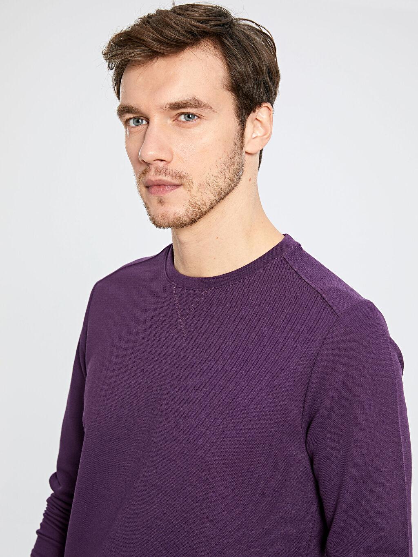 %48 Pamuk %52 Polyester İnce Sweatshirt Kumaşı Sweatshirt Bisiklet Yaka Uzun Kol Bisiklet Yaka Basic Sweatshirt