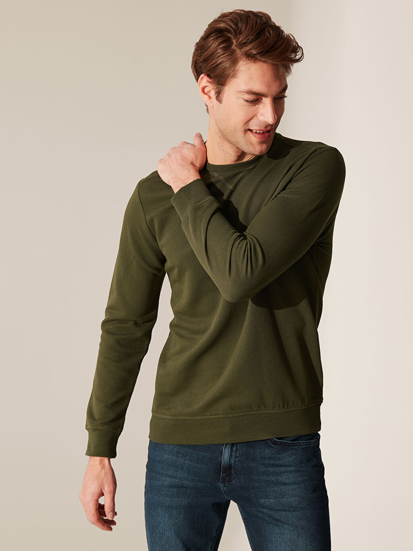 %44 Pamuk %56 Polyester İnce Sweatshirt Kumaşı Sweatshirt Bisiklet Yaka Uzun Kol Bisiklet Yaka Basic Sweatshirt