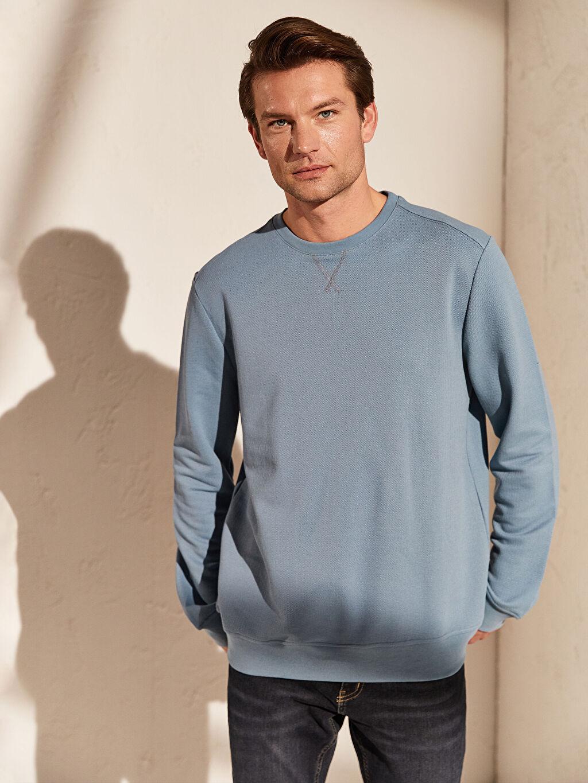 %48 Pamuk %52 Polyester Sweatshirt Bisiklet Yaka Uzun Kol Yüksek Pamuk İçerir Sweatshirt Kumaşı Bisiklet Yaka Basic Sweatshirt