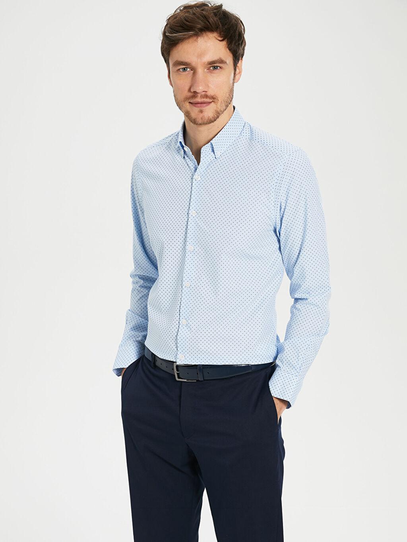 Mavi Slim Fit Desenli Poplin Gömlek 0S3057Z8 LC Waikiki