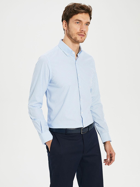 %59 Pamuk %41 Polyester Uzun Kol Düğmeli Gömlek Yaka Poplin Gömlek Baskılı Dar İnce Slim Fit Desenli Poplin Gömlek