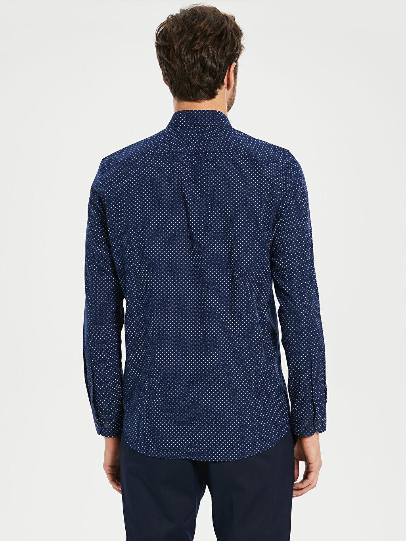 %59 Pamuk %41 Polyester Slim Fit Desenli Poplin Gömlek
