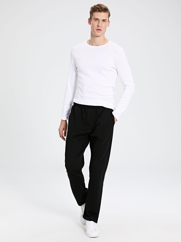 %97 Pamuk %3 Elastan Orta Kalınlık Standart İnce Sweatshirt Kumaşı Eşofman Altı Standart Kalıp Eşofman Altı
