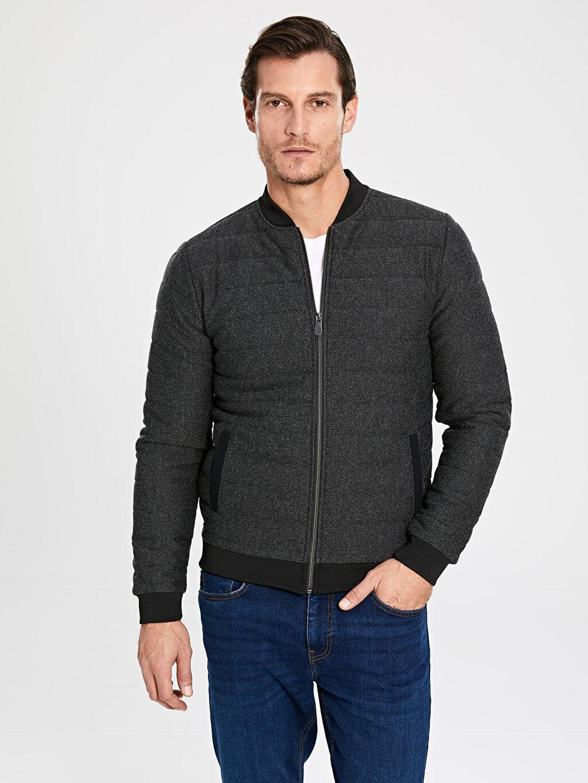 %94 Polyester %6 Viskoz %100 Polyester Uzun Kol Sweatshirt Dar Kalın Dik Yaka Şişme Mont