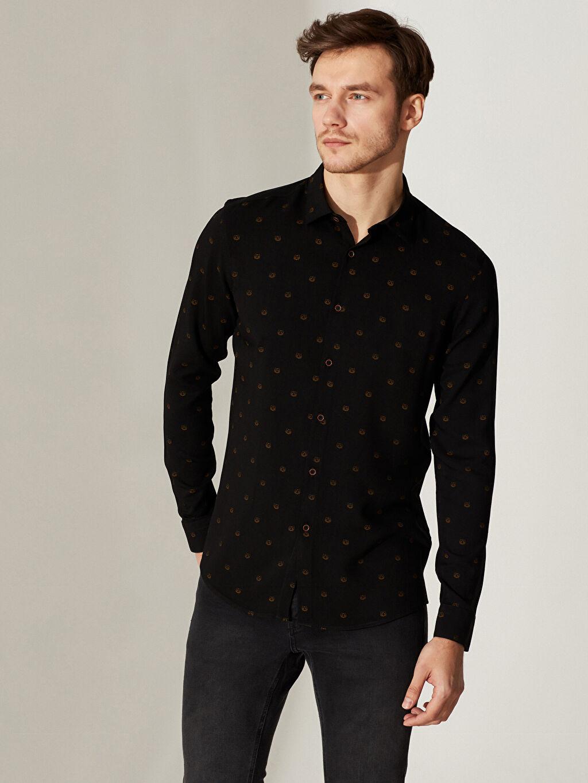 Siyah Slim Fit Viskon Gömlek 0S4709Z8 LC Waikiki