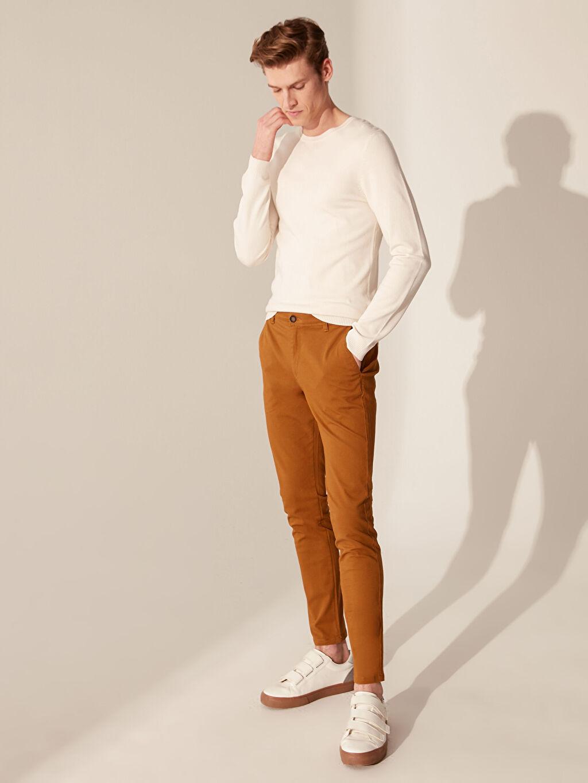 %97 Pamuk %3 Elastan Chino Pantolon Gabardin Skinny Orta Kalınlık Yüksek Pamuk İçerir Ekstra Dar Kalıp Gabardin Chino Pantolon