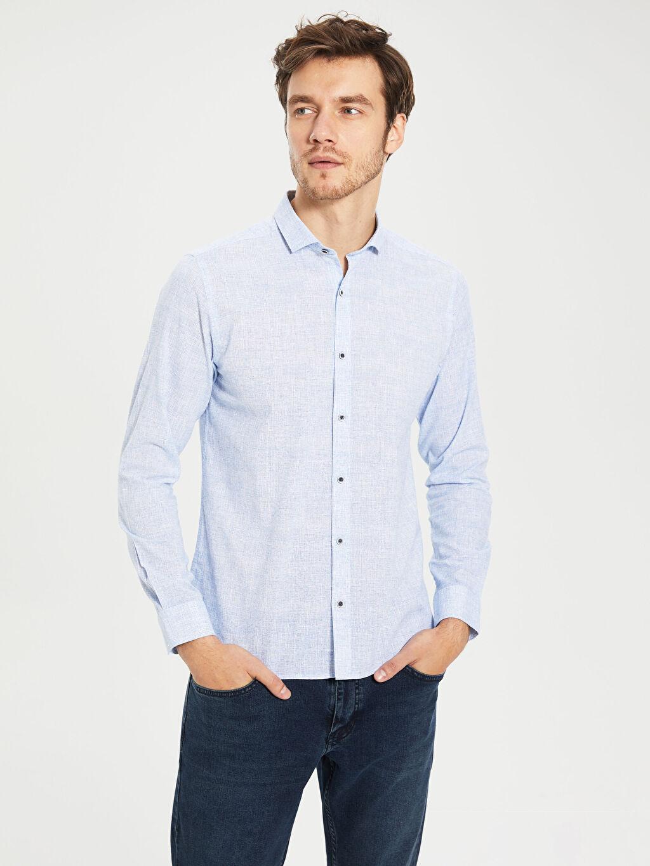 %100 Pamuk Gömlek Uzun Kol Düz Poplin Gömlek Yaka Dar Patlı %100 Pamuk İnce Slim Fit Pamuklu Gömlek